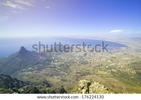 Aerial view from Table Mountain overlooking downtown Cape Town waterfront and Harbor, South Africa - stock photo