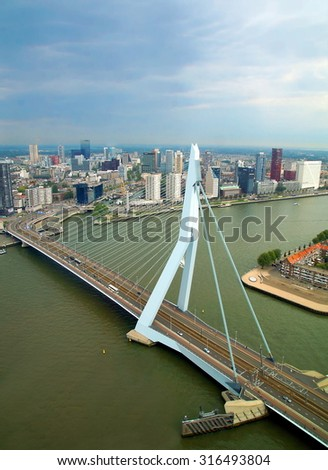 aerial view from the famous Erasmus bridge in the city of Rotterdam, Netherland  - stock photo
