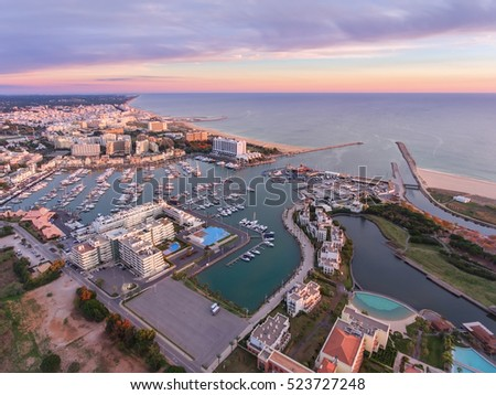 Aerial. View from the sky, the tourist resort Vilamoura. Algarve Portugal.