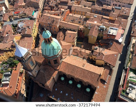 Aerial view from tower with red roofs in Bologna, Italy - landscape photos - stock photo