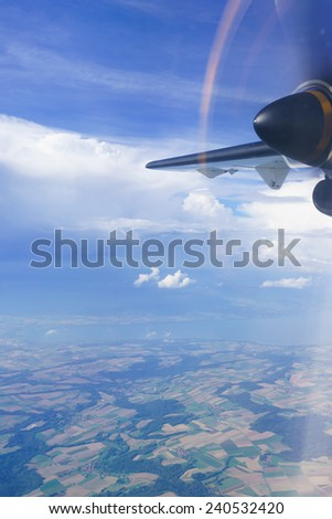 aerial view from turbo-prop aircraft - stock photo