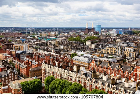 Aerial View from Westminster Cathedral on Roofs and Houses of London, United Kingdom - stock photo