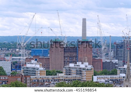 Aerial View from Westminster Cathedral on Roofs and Houses of London, United Kingdom. Battersea Power Station. - stock photo