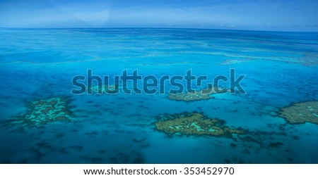 aerial view great barrier reef Whitsundays Queensland
