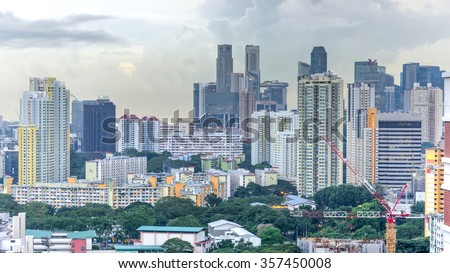 Aerial view group of high rise colorful residential apartments in Redhill neighborhood in Singapore at sunset. Urban concept. Panoramic style