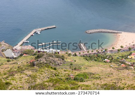 Aerial view harbor of Canical at Madeira Island, Portugal - stock photo