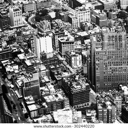 Aerial view in high contrast black and white of New York City - stock photo