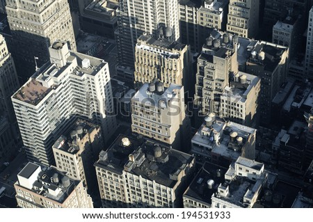 Aerial view in Manhattan, New York, United States