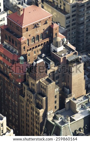 Aerial view in Manhattan, New York, United States. - stock photo
