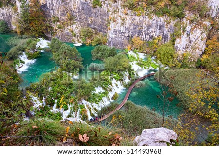 Aerial view in Plitvice National Park, Croatia