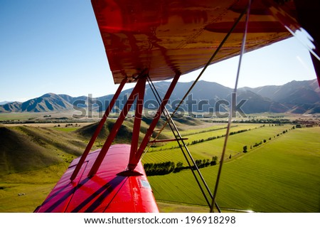 Aerial View Inside a Biplane - New Zealand - stock photo