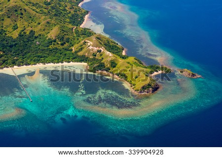 Aerial view, Komodo Island, Komodo National Park, Indonesia, Indian Ocean, Asia - stock photo