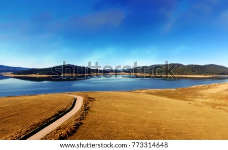 Aerial view lake in the mountains, bulgarian nature, Batak dam lake, drone picture,
