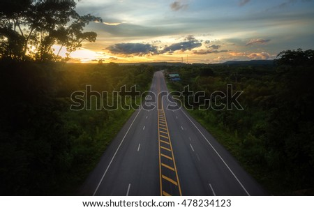 Aerial view Landscape scene and sunrise above road