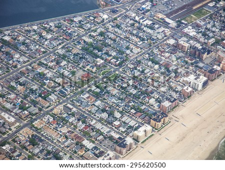 Aerial view looking down on Long Island, New York - stock photo