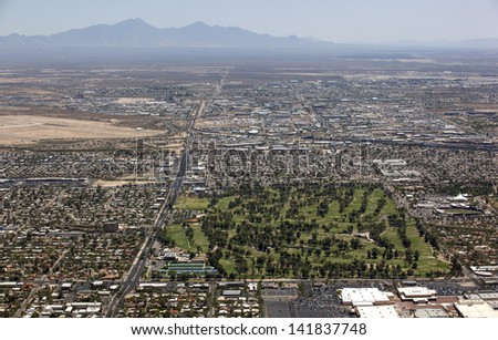 Aerial view looking south of Tucson's Golf Course, Park and Zoo - stock photo