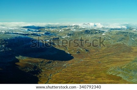 Aerial view - mountain landscape of Norway