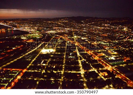 aerial view oakland city at night