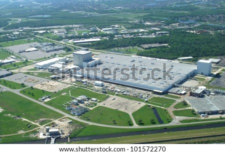 aerial view of a Assembly Facility in New Orleans near Lake Borgne, New Orleans Louisiana USA - stock photo