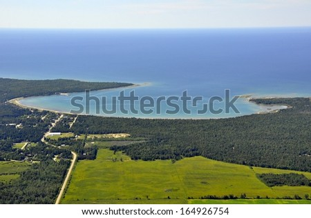 aerial view of a Bay in the South Western part of Manitoulin Island, Ontario, Canada - stock photo