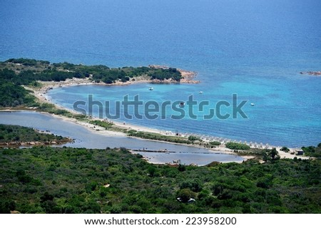 aerial view of a beautiful bay in Sardinia-Italy