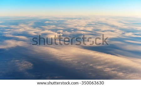 Aerial View of a Beautiful Cirrus Cloud Cloudscape - stock photo