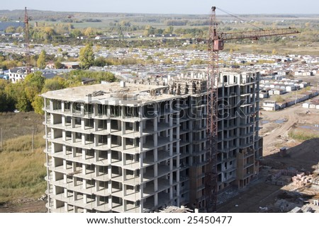 Aerial view of a building activity. Under construction - stock photo