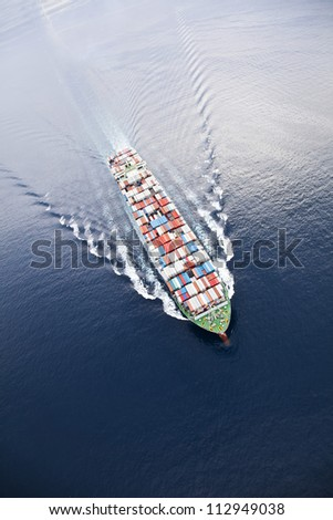 Aerial view of a Cargo vessel
