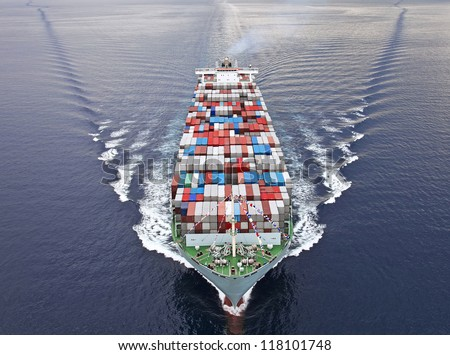 Aerial view of a Cargo vessel. - stock photo