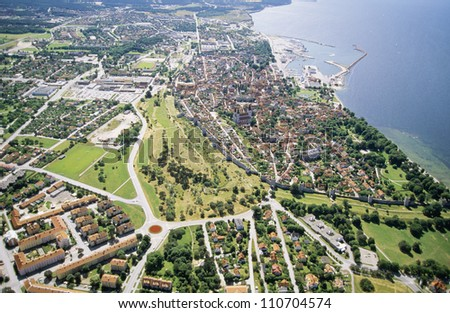 Aerial view of a city in Gotland, Sweden - stock photo