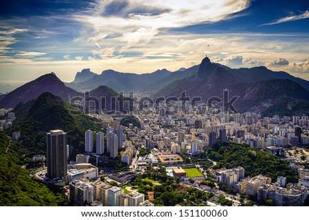 Aerial view of a city on a hill, Rio De Janeiro, Brazil - stock photo