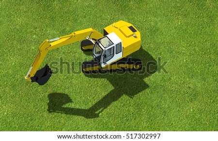 Aerial view of a digger - tracked excavator at work on a construction - ed rendering
