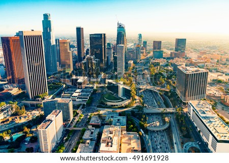 Aerial view of a Downtown Los Angeles at sunset