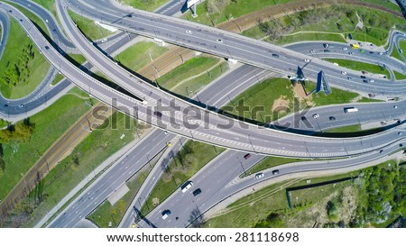 Aerial view of a freeway intersection - stock photo