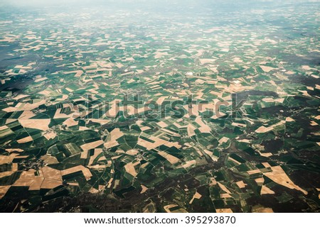 Aerial view of a French countryside on the plane, Picardy, France - stock photo