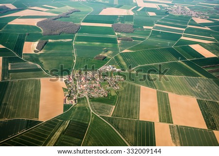 Aerial view of a French village on the plane, Picardy, France - stock photo