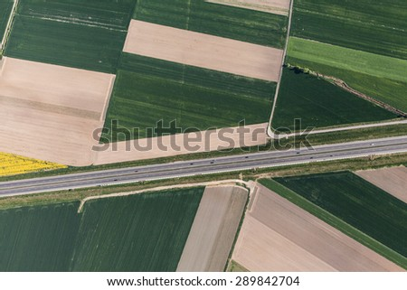 aerial view of a green harvest fields in Poland - stock photo