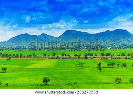 Aerial view of a green rural area under blue sky - stock photo