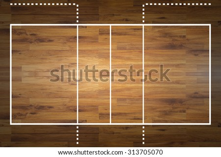 Aerial view of a hardwood volleyball court - stock photo