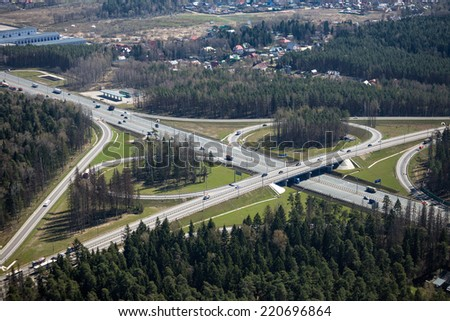 Aerial view of a highway interchange in Russia - stock photo