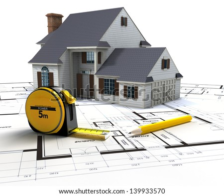 Aerial view of a house on top of blueprints and architect work tools - stock photo