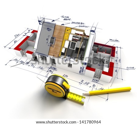 Aerial view of a house under construction with explanatory notes - stock photo