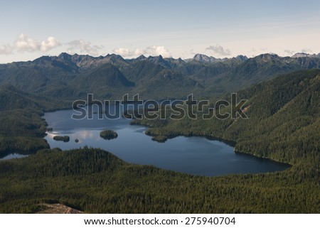 Aerial view of a lake, Skeena-Queen Charlotte Regional District, Haida Gwaii, Graham Island, British Columbia, Canada