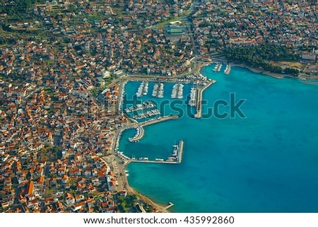 Aerial view of a Mediterranean town, Vodice - stock photo
