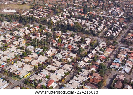 Aerial view of a middle class neighborhood in Santiago de Chile - stock photo