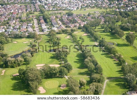 Aerial view of a private golf course near Montreal