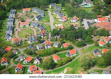 Aerial view of a residential community, village of Haamstede, Netherlands, photo taken from above during a helicopter from air - stock photo
