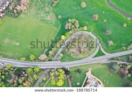 Aerial view of a road system in rural England - stock photo