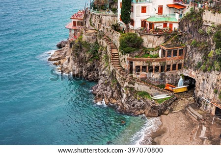 Aerial view of a small beach on Amalfi Coast, Italy