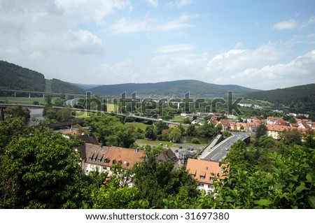 Aerial view of a small German town in Bavarian